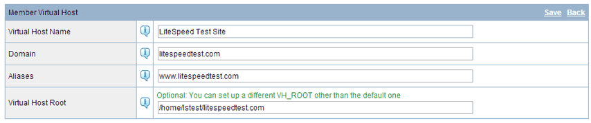 LiteSpeed Virtual Host Templates
